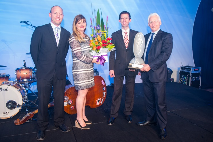 Image above: Glenelg Hopkins CMA's Adam Bester, Lucy Cameron and CEO Kevin Wood accepting the 2013 Australia Riverprize Award from Senator Simon Birmingham.