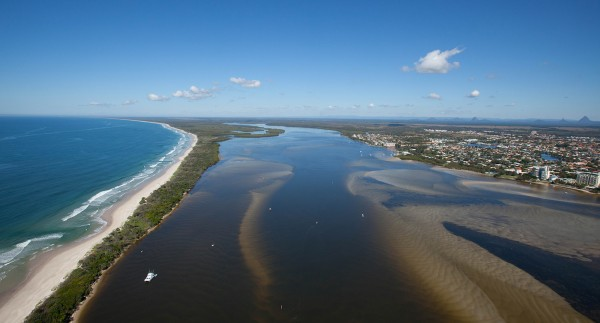 Looking south over the Pumicestone Passage with Golden Beach on the right and north Bribie Island on the left