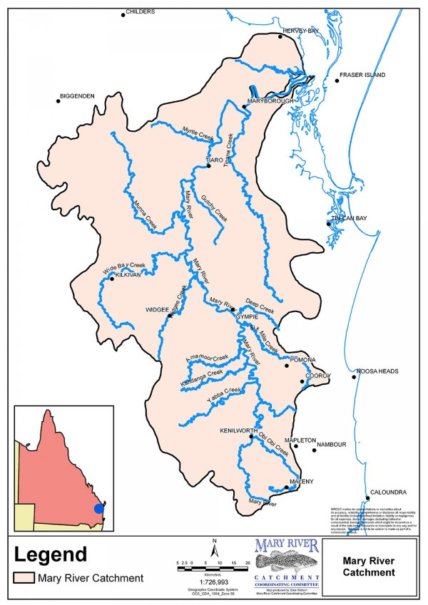 Catchment map showing main tributaries sml